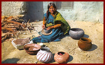 Hopi Woman Making Pottery on the Mesa