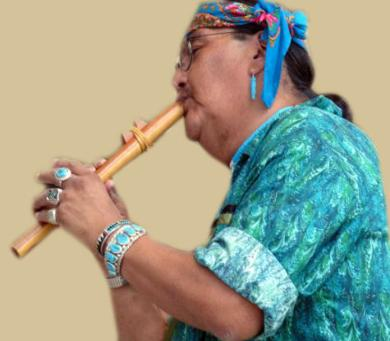 Zuni Indian playing flute